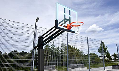 Pro Slam 54' In-Ground Basketball Hoop System with Height Adjustable Tempered Glass Backboard, Double Spring Breakaway Basketball Rim for Outdoor Basketball