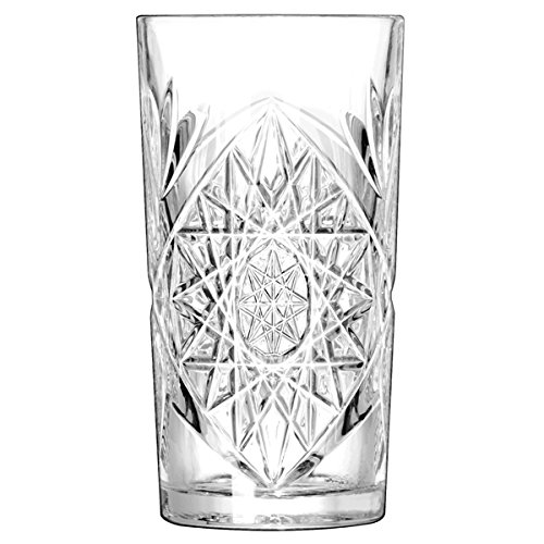 Hobstar Hiball Glasses 16oz/470ml - Set of 4 - Vintage Cut Glass Highball Cocktail Tumblers Libbey