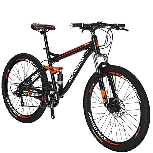 Eurobike Full Suspension Mountain Bike 21 Speed Bicycle 27.5 inches Mens MTB Disc Brakes Orange (Aluminum-Alloy Rims)