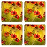 MSD Natural Rubber Square Coasters Set of 4 IMAGE of flower background summer nature red