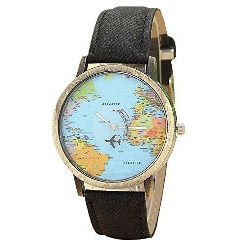 Mini World Unisex Armbanduhr Weltkarte Bewegliches Flugzeug Als