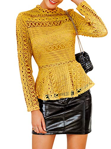SUNJIN ARCO Women's Elegant Lace Tops Hollow Out Long Sleeve Peplum Hem Shirt Blouse (Yellow,XL/8)