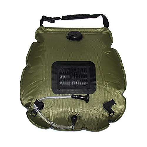 Escomdp Portable Outdoor 20L Solar Shower Bag for Camping Hiking Climbing (Army Green) by Escomdp