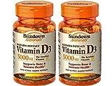 Sundown Naturals Vitamin D 5000iu Softgels – 150 ct Pack of 2 For Sale