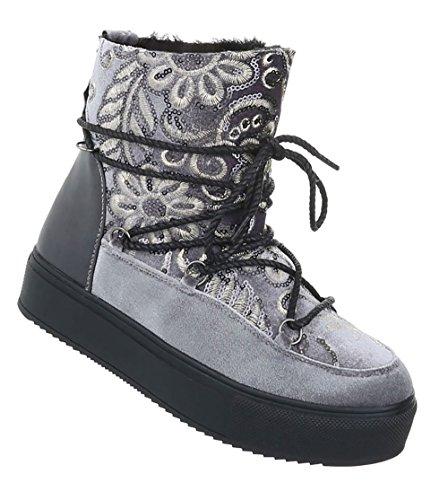 Damen Schuhe Stiefeletten Warm Gefütterte Boots Grau