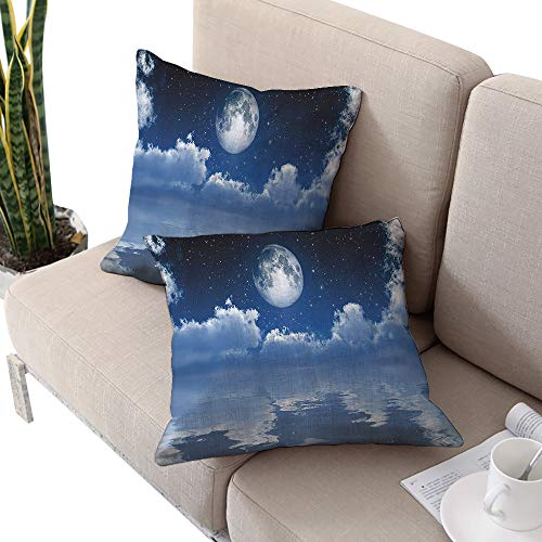 Ocean Decor Collection Square seat cushion cover ,Scene of Mystic Full Moon with Cloudscape Reflected on the Sea Image Navy Blue White W14