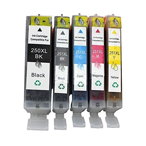 HOTCOLOR 5 Pack (1BK 1PBK 1C 1M 1Y) for Canon PGI-250XL CLI-251XL Compatible Ink Cartridge With Show Ink Level Chip High Capacity High Yield High Compatibility for Canon Pixma MG5420 MG5400 Printer