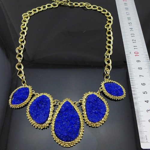 New Arrival Unique Attractive Exquisite Gold Plated Chunky Choker Bib Statement Fashion Necklaces for Women LJ001 (blue)
