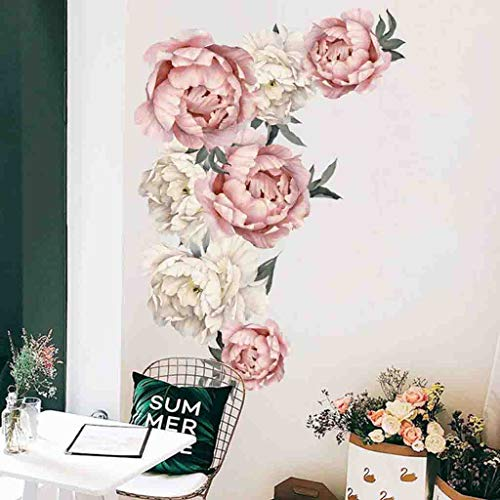 (Fine Peony Flowers Wall Decal,Pink Rose Wall Stickers Removable Flower Wall Decals Bedroom Living Room Wall Art Decor (Multicolor))
