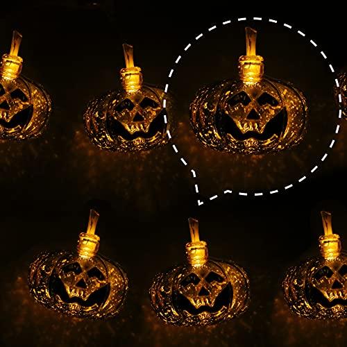 DomeStar Halloween Pumpkin String Lights, 9.8FT 20LED Pumpkin Lights Waterproof Halloween String Lights Flash Holiday Lights for Patio Garden Gate Halloween Outdoor Decor