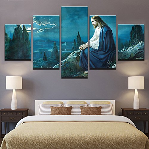PEACOCK JEWELS [Large] Premium Quality Canvas Printed Wall Art Poster 5 Pieces / 5 Pannel Wall Decor Prayer Jesus Gethsemane Painting, Home Decor Pictures - Stretched