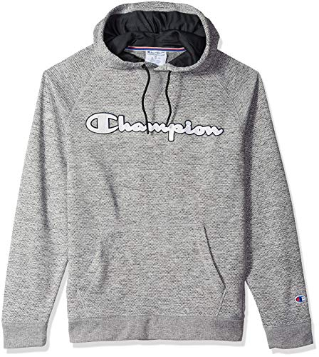 Champion Men's Graphic Tech Fleece Pull Over Hood, Graphite Gray Heather Script Applique, X-Large ()