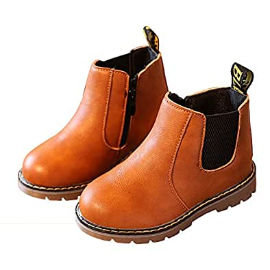 LINKEY Toddler Girls Chelsea Boots Side Zip Flat Ankle Boots with Elastic Side Tabs Brown Size: 6.5 Toddler
