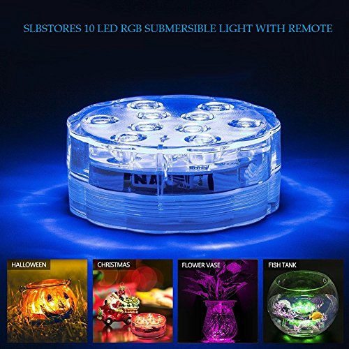SLBSTORES Submersible LED Waterproof Light with Remote for