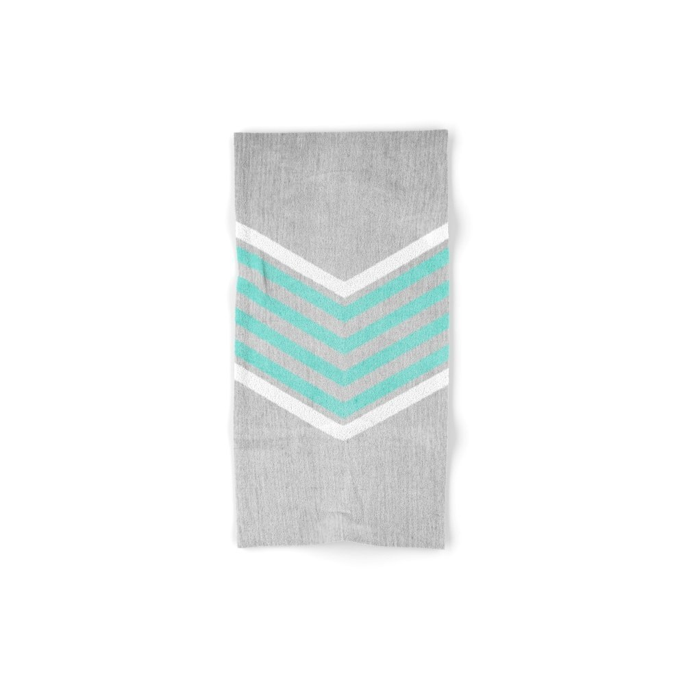 Society6 Teal And White Chevron On Silver Grey Wood Hand Towel 30''x15''