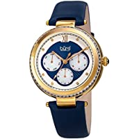 Burgi Baguette Crystal Accented Women's Watch - Blue Genuine Leather Strap, Mother of Pearl and Crystal Dial - Multifunction Japanese Quartz with Day, Date and 24 Hour Displays – BUR182BU