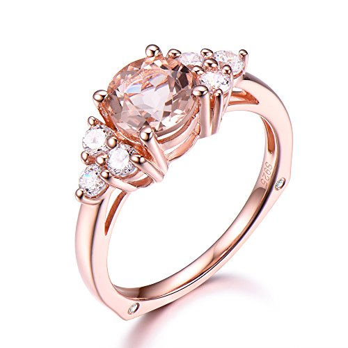 Pink Morganite Engagement Ring 6mm Round 925 Sterling Silver Rose Gold CZ Cubic Zirconia Diamond Cluster by Milejewel Morganite Engagement Ring