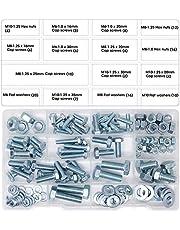 T.K.Excellent Zeskantbouten M6 M8 M10 en zeskantmoeren en ringen set kit, 128 stuks