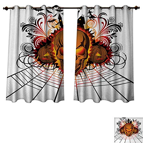 Halloween Blackout Thermal Backed Curtains for Living Room Angry Skull Face on Bonfire Spirits of Other World Concept Bats Spider Web Design Customized Curtains Multicolor W52 x L63 inch