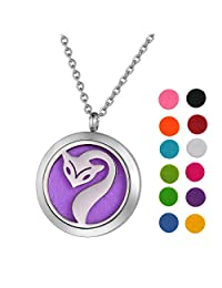 Stainless Steel Aromatherapy Essential Oil Diffuser Necklace with Fox for Women,Silver Tone