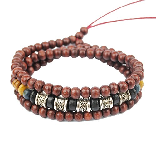 MORE FUN Tribal Wooden Bead Bracelet Charm Metal Tube Handmade Multi-layers Wristband Bangle