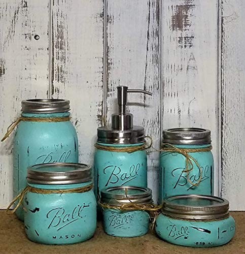 Lancaster Glass Accessory - Custom 4, 5 or 6 Piece Painted Mason Jar Bathroom Set with Soap Dispenser Lid - Bathroom Accessories - Rustic Farmhouse Decor - Country Chic Decor - Available in 20 Colors - Shown in Sea Blue