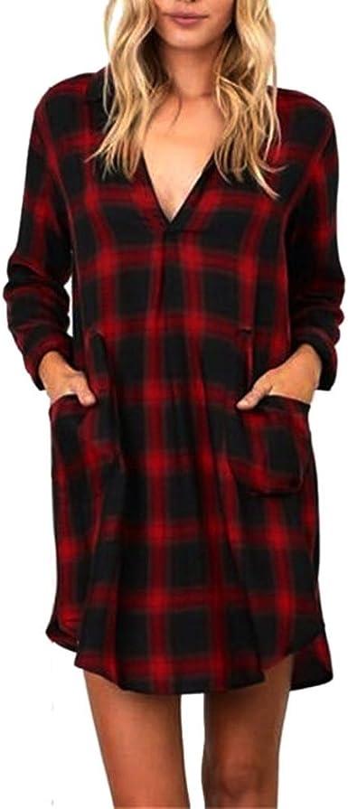 DOGZI Mujer Tartán Manga Larga Casual Suelto Túnica Tops Camiseta Blusa roja Ropa de Noche Fiesta Playa Blusa: Amazon.es: Ropa y accesorios