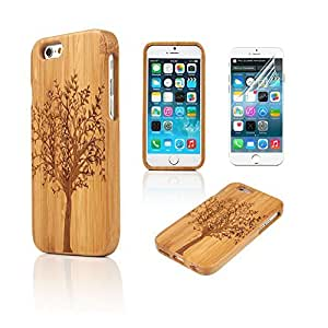 2015 popular iPhone 6 Case, Boriyuan New Decorative Handmade Hard Unique Natural Tree Wood Wooden Case Cover Shell Compatible for iPhone 6 4.7 inch Smartphone