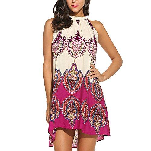 Womens Dress Summer O-Neck Boho Sleeveless Floral Printed Beach Mini Dress Casual T-Shirt Short Dress (M, Y-Hot Pink)