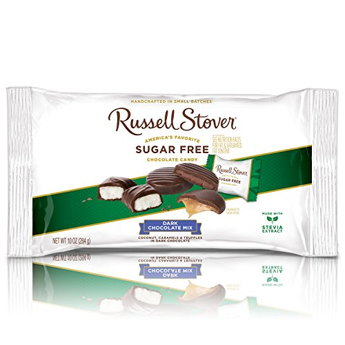 Russell Stover Sugar-Free Dark Chocolate Mix Laydown Bag 10 Ounce Sugar-Free Candy, Dark Chocolate Candy Pack, Individually Wrapped Candy, Assorted Chocolate Candy Pack Sweetened with Stevia