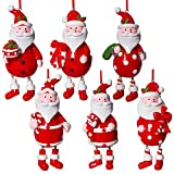 Prextex Pack of 6 Painted Santa Christmas Tree Ornaments for Unique Christmas Decoration