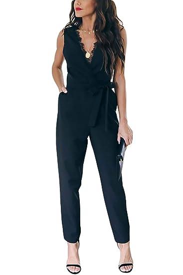 gute Qualität größter Rabatt klassische Stile Yieune Jumpsuit Damen Elegant Ärmellos Playsuit Sommer Party Overall  V-Ausschnitt Casual Spitze Romper Abendmode