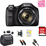 Sony Cyber-shot DSCH300/B Digital Camera (Black) Ultimate Bundle Deluxe Camera Bag, 32GB Memory Cards, Extra Battery, Tripod, Card Reader, HDMI Cable, Camera Works Cloth & More