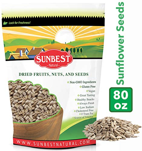 SUNBEST Raw Sunflower Seed Kernels, Unsalted, Unroasted in Resealable Bag (5 Lb)