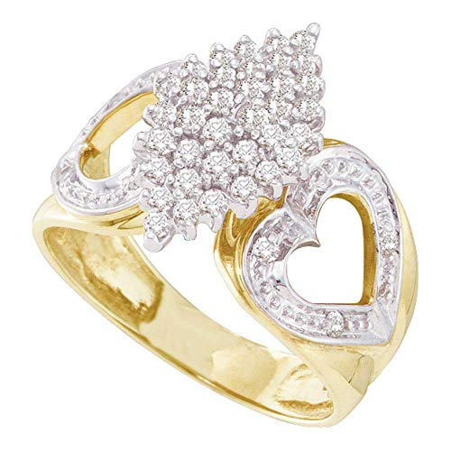 - Jewel Tie - Size 10 - Solid 10k Yellow Gold Round Diamond Cluster Heart Ring (1/2 Cttw.)