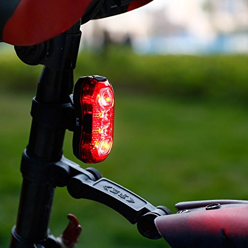 LE USB CREE LED Super Bright Bike Rear Tail Light 5 Lighting Modes Easy Install Red Safety Cycling Light - Fits on Any Bicycles Helmet Backpack by Lighting EVER (Image #2)