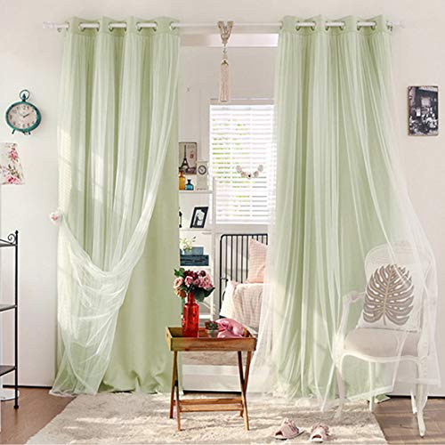 Didihou Curtains for Girls Bedroom Voile Mix Match Double Layer Curtains Window Treatment Grommet Drapes for Girls Bedroom, 1 Panel (Green, 42x84 Inch)
