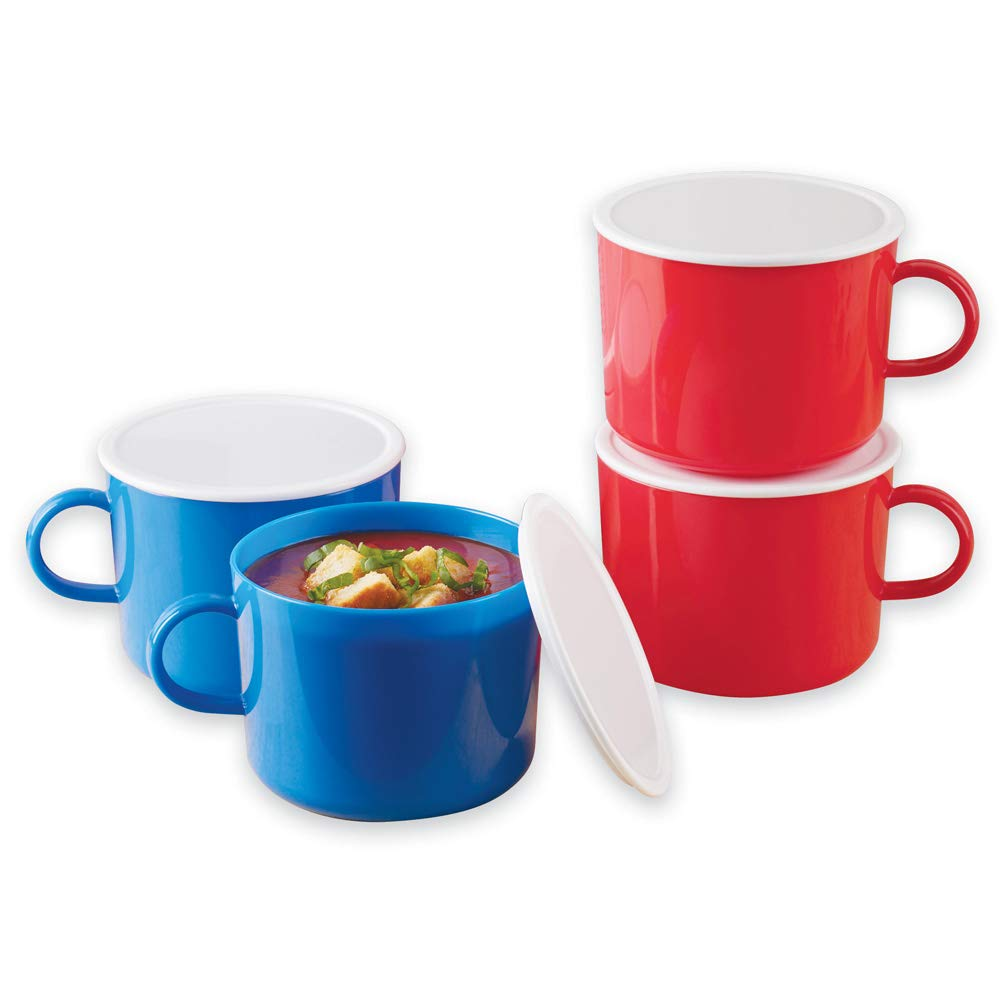 Microwaveable Soup Mugs Set with Lids, Blue and Red, 4 Pc Winston Brands