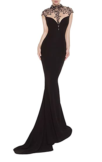 Emmani Fashion Cheap Long Mermaid Sleeveless New Night Black Chiffon Homecoming Celebrity Prom Party Evening Wedding