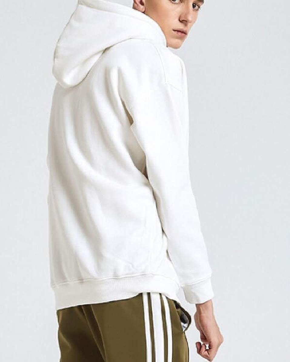 FLCH+YIGE Men Winter Warm Solid Soft Thicken Long Sleeve Pullover Hoodie Sweatshirt