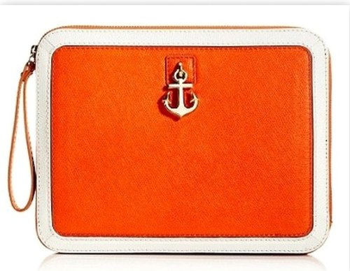 Juicy Couture Leni Charm Saffinao Leather Clutch Wristlet, Tangerine