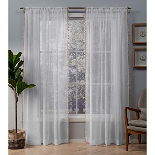 Exclusive Home Tassels Embellished Sheer Rod Pocket Curtain Panel Pair, Blush, 54x96