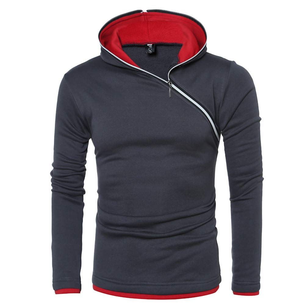 Mens Hoodie,Winter Slash Zipper Hooded Pullover Solid Blouse Coat Teens Sweatshirt Zulmaliu
