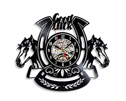 Levescale - Horseshoe Vinyl Wall Clock Western - Perfect Horse Gift for Man, Dad Or Son - Decoration for Horses Club, Living Room - Good Luck Horse Diamond Lucky Farrier