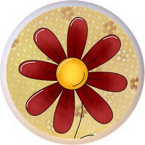 DESIGN #5 FLOWER - Peaceful Petals Country BC - DECORATIVE Glossy CERAMIC Drawer PULL Dresser KNOB (Knob Design Flower Petal)