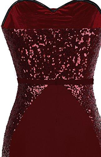 Lungo Da Spalline Senza Donnas Rosso Angel Vestito Nastro Graduale Vino Lustrino fashions Simmetrico Sirena ZwqOz