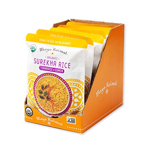 Maya Kaimal Organic Indian Turmeric and Cumin Surekha Rice, 8.5 oz (Pack of 6), Gluten Free, Vegan, No Preservatives, Microwavable