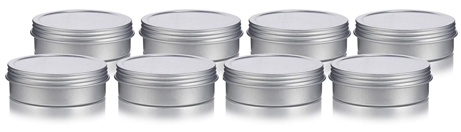 2 oz Metal Steel Tin Flat Container with Tight Sealed Twist Screwtop Cover 8 Pack