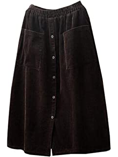 e8e92296b661d Minibee Women s Corduroy Midi Skirt Front Split Buttons A-Line Dress Dark  Coffee L