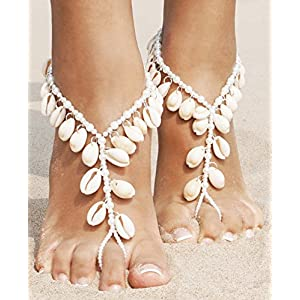 2 Pcs Bohemian Style Barefoot Sandals Pearl Ankle Chain with Tassel Seashell,White_Style 2